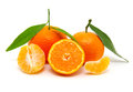 Mandarin on white tangerine with leaf isolated Royalty Free Stock Photo