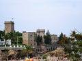 Mandelieu-La Napoule, France: Chateau de la Napule and the beach view from embankment Royalty Free Stock Photo