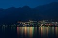Mandello De Lario At Lake Como At Night Royalty Free Stock Photo