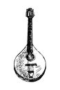 Mandolin black and white drawing of a traditional Stock Photography