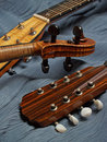 Mandolin, Violin & Guitar Head Trio Stock Photo