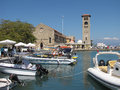 Mandraki port photo two Royalty Free Stock Photo