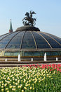 Manege square and monument on a glass cupola to saint george and the dragon patron of moscow Royalty Free Stock Photo