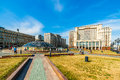 Manege square and the monument to saint george in moscow st is patron of russia view as of tuesday july from Royalty Free Stock Photo