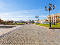 Manege square in moscow in autumn day russia october manezhnaya on october a large pedestrian area center of Royalty Free Stock Images