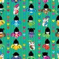 Maneki japanese doll fan dance symmetry seamless pattern