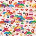 Maneki Neko fat fan group rainbow seamless pattern Royalty Free Stock Photo