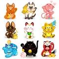Maneki Neko Fortune Cat Collection Royalty Free Stock Photo