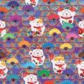 Maneki Neko rainbow half line fan seamless pattern Royalty Free Stock Photo