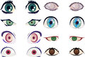 Manga anime eyes colorful pairs of drawn in style Stock Photography