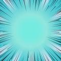 Manga comic book flash blue explosion radial lines background. Royalty Free Stock Photo