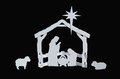 Manger Silhouette Baby Jesus Mary Joseph Lambs Royalty Free Stock Photo
