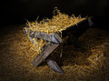 Manger with straw Royalty Free Stock Photo