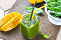 Mango with Banana and Spinach smoothie Royalty Free Stock Photo