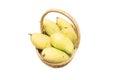 Mango in basket fresh isolated on white background Royalty Free Stock Photo
