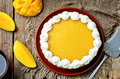 Mango cheese cake decorated with whipped cream and mango puree Royalty Free Stock Photo