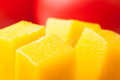 Mango chunks macro closeup detail Stock Images