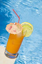 Mango Cocktail by the Pool Royalty Free Stock Photo