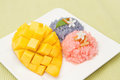 Mango and colorful sticky rice thai desserts Stock Images