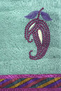 Mango embroidery detail traditional indian on sari Royalty Free Stock Images