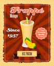 Mango frappe poster with fruit drinking strew and glass in retro style illustration Royalty Free Stock Photo