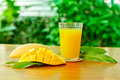 Mango fruit with Mango juice Royalty Free Stock Photo