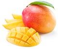 Mango fruit and mango slices. Royalty Free Stock Photo