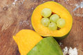 mango with green grape Royalty Free Stock Photo