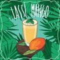 Mango Indian drink Lassi with fresh juice