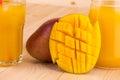 Mango and juice. Royalty Free Stock Photo