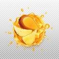 Mango juice with fruit.