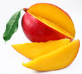 Mango with lobules on a white background Royalty Free Stock Image