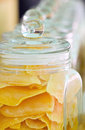 Mango preserve fruit in glass jar Stock Images