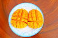 Mango slice cut to cubes close up the Stock Image