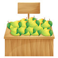 A mango stand with a wooden signboard illustration of on white background Stock Photo