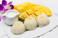 Mango with sticky rice on the plate Royalty Free Stock Image