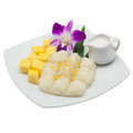 Mango with sticky rice on the plate Stock Image