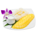 Mango with sticky rice on white background Royalty Free Stock Photo