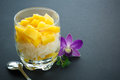 Mango verrine sticky rice in a Stock Images
