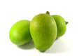 Mangoes fruit fresh green on white background Stock Photography