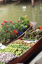 Mangoes and other fruits for sale at damnoen saduak floating mar market thailand Royalty Free Stock Images