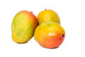 Mangos on isolated on a white background with water drops top in Stock Image