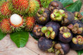 Mangosteen and rambutan Royalty Free Stock Photography