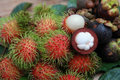 Mangosteen and rambutan Royalty Free Stock Photos