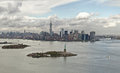 Manhattan bay and liberty island new york usa from a helicopter view Royalty Free Stock Photo