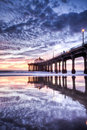 Manhattan Beach Pier Nightfall HDR Royalty Free Stock Photos