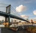 Manhattan Bridge and Manhattan Skyline seen from Dumbo in Brooklyn - New York, USA Royalty Free Stock Photo