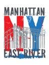 Manhattan bridge, New York city, silhouette Royalty Free Stock Photo