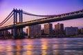 Manhattan bridge new york city and at sunset Stock Photo