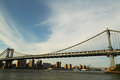 Manhattan bridge new york july on july the is a suspension that crosses the east river it was opened on Stock Photo